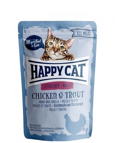 happy cat sterilised chicken and trout pet action pet shop