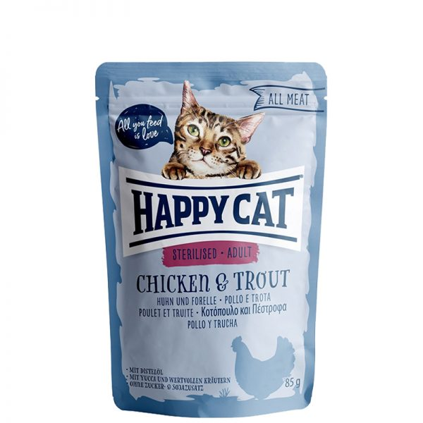 happy cat sterilised chicken and trout pet action pet shop