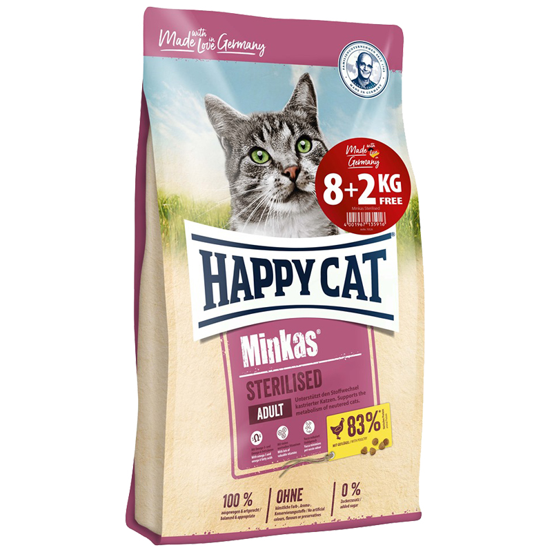 Happy Cat – Minkas Sterilised 8kg+2kg ΔΩΡΟ